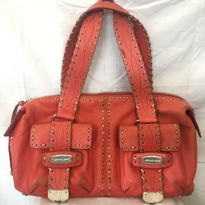 Michael Kors Coral Leather Stitched Bag